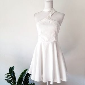 Luxxel White Choker Sexy Fit and Flare Dress Large